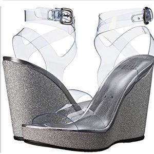 Stuart Weitzman (new) clear/silver wedge sandals